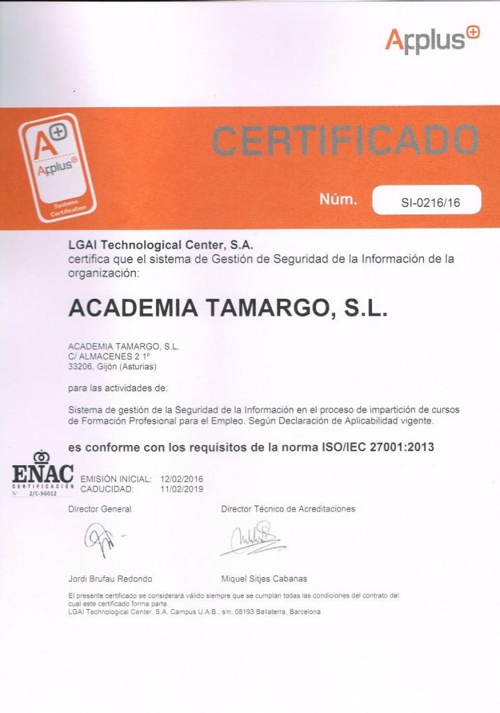 certificado de seguridad de la información