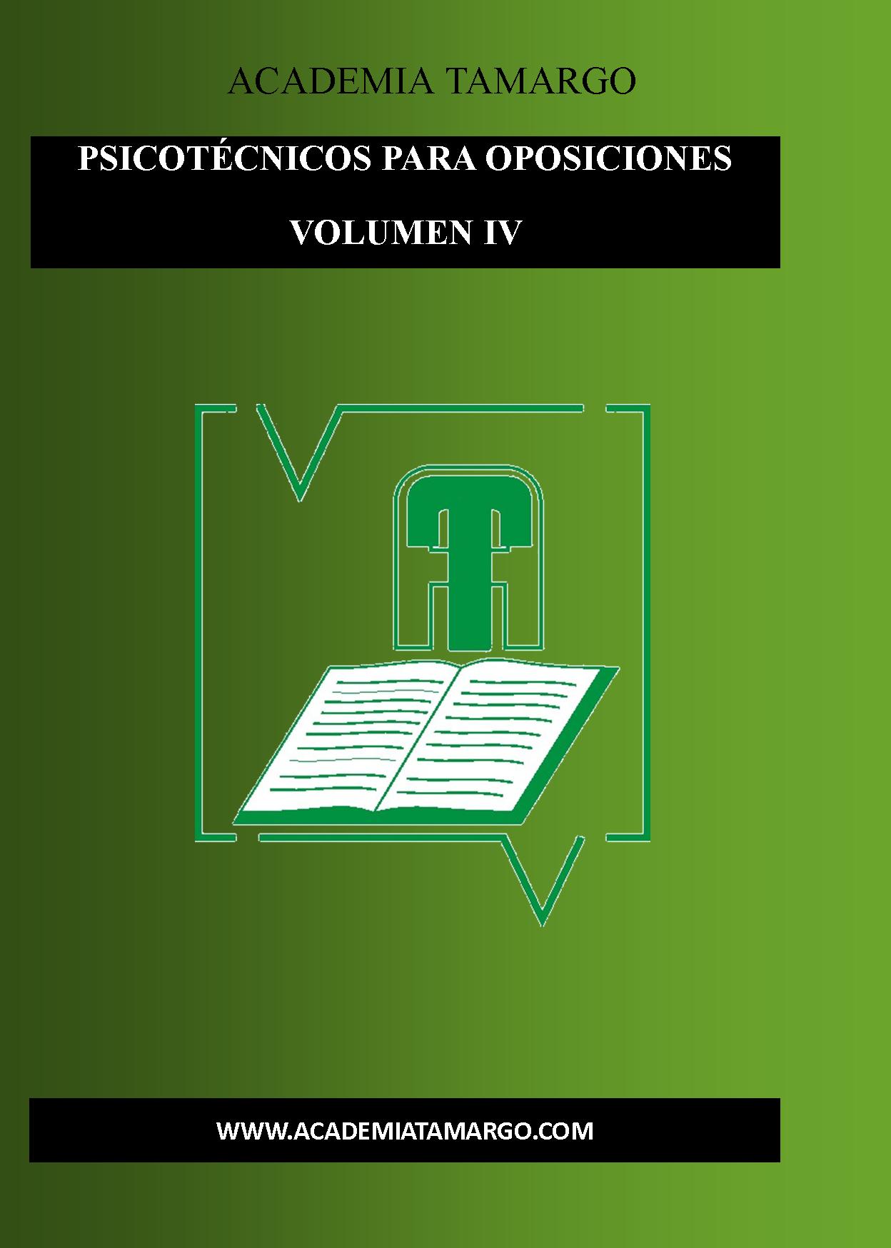 portada, contraportada y lomo de PSICOTÉCNICOS VOLUMN iv