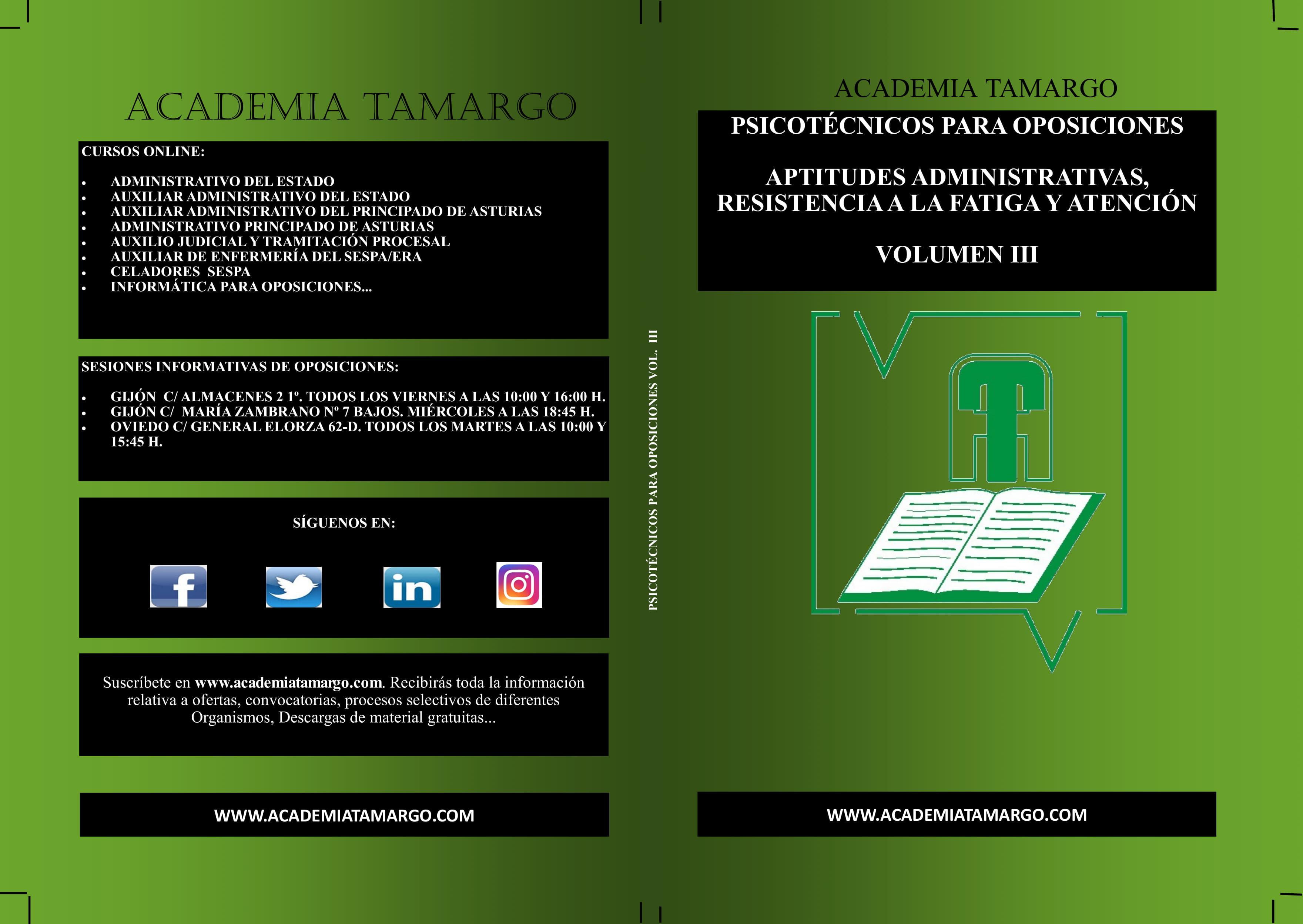 portada, contraportada y lomo de PSICOTÉCNICOS VOLUMN III-1